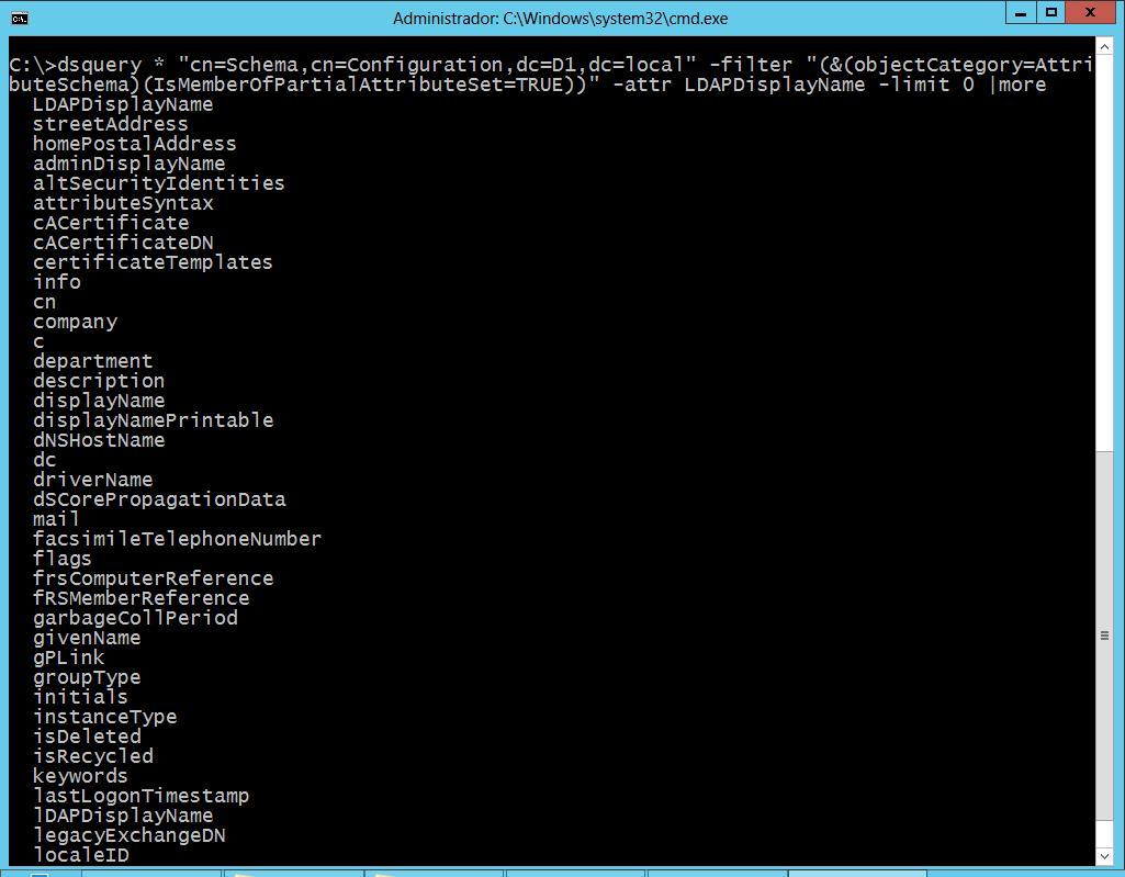 Active Directory: Ver todos los atributos que son guardados en el catálogo global (GC)