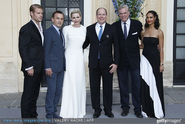 US actors of Texas Rising Donovan Trevor, Robert Knepper, (from R) Christopher McDonald and Cynthia Addai Robinson pose with Prince Albert II (3rd R) and Princess Charlene (3rd L) of Monaco in Monaco Palace as part the 55th Monte-Carlo Television Festival on June 17, 2015, in Monaco.