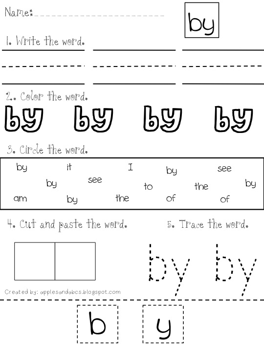 Mania Sight worksheet Word want  Part word sight 3
