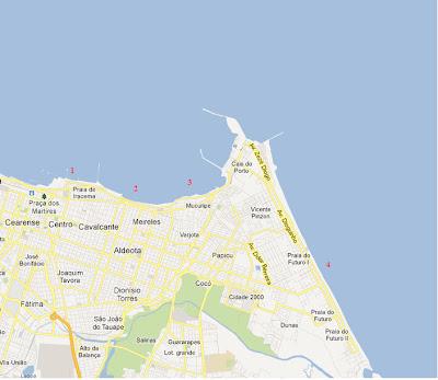Mapa praias de Fortaleza