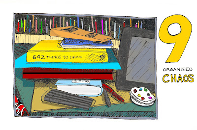 EDM 9 - Organized Chaos - Ana's Work Station Pen and Ink with Digital Colour - 2012© Ana Tirolese