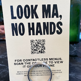 City Mouse Hands free menu with QR code outdoor dining at The Ace Hotel.