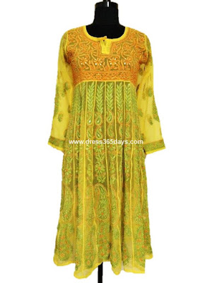 Yellow Chiffon Anarkali - Lucknow Chikankari Embroidery