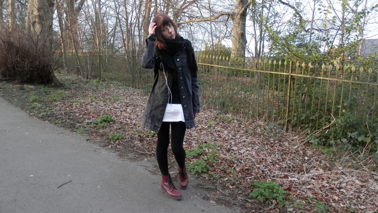 Long Denim Jacket Outfit with Dr Martens