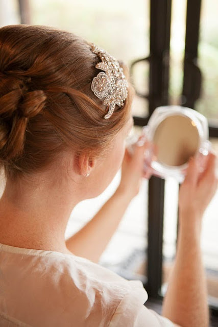 my wedding morning - hairband and hair