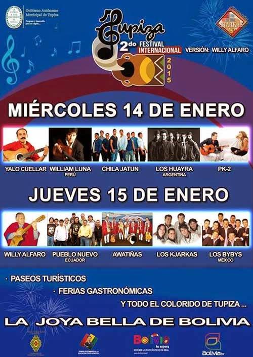 Cartelera 2do. Festival Internacional Tupiza 2015