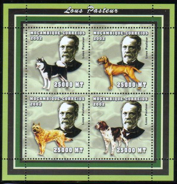 2002年モザンビーク共和国 ルイ・パスツールとアラスカン・マラミュート ビズラ ピカルディ・シェパード フレンチ・スパニエルの切手シート