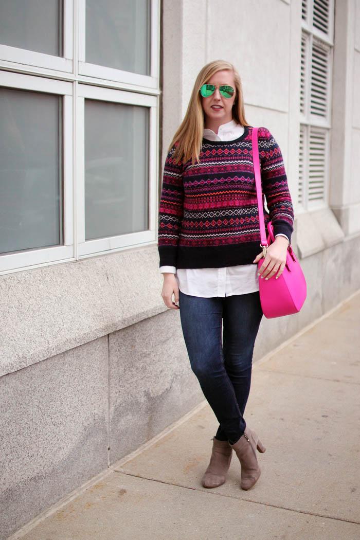 loft sweater, loft fairisle sweater, loft fair isle sweater, navy and pink fairisle sweater, boston fashion blogger, blogger fairisle sweater, blogger fair isle sweater