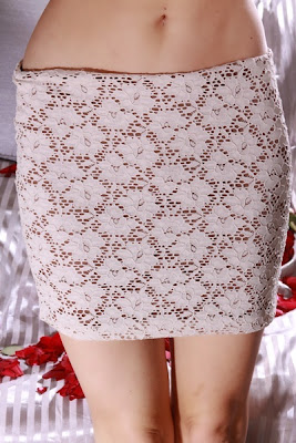 NUDE BROWN ELASTIC WAIST TWO TONE EYELET MINI SKIRT
