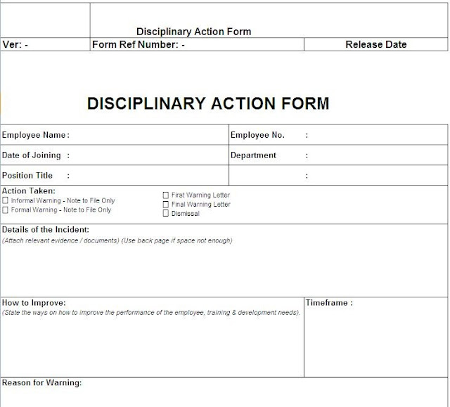 Disciplinary Action Form Free Download