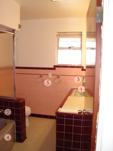 How to update a mid-centurry bathroom on a budget, ugly bathroom makeover
