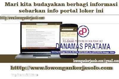 Portal Lowongan Kerja Kasir di PT BPR Danamas solo