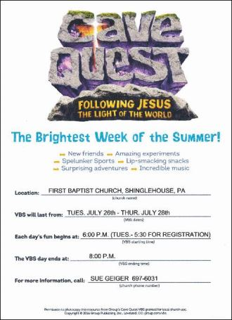 7-26 thru 7-28 VBS Cave Quest