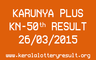 Karunya Plus KN 50 Lottery Result 26-3-2015