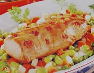 Carnes redondo de ternera a la jardinera - Como rellenar un redondo de ternera ...