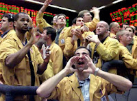 Photo Image of traders screaming their orders to buy and sell