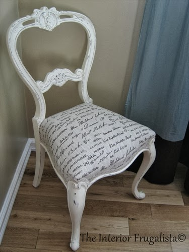 After picture of antique balloon back chair makeover