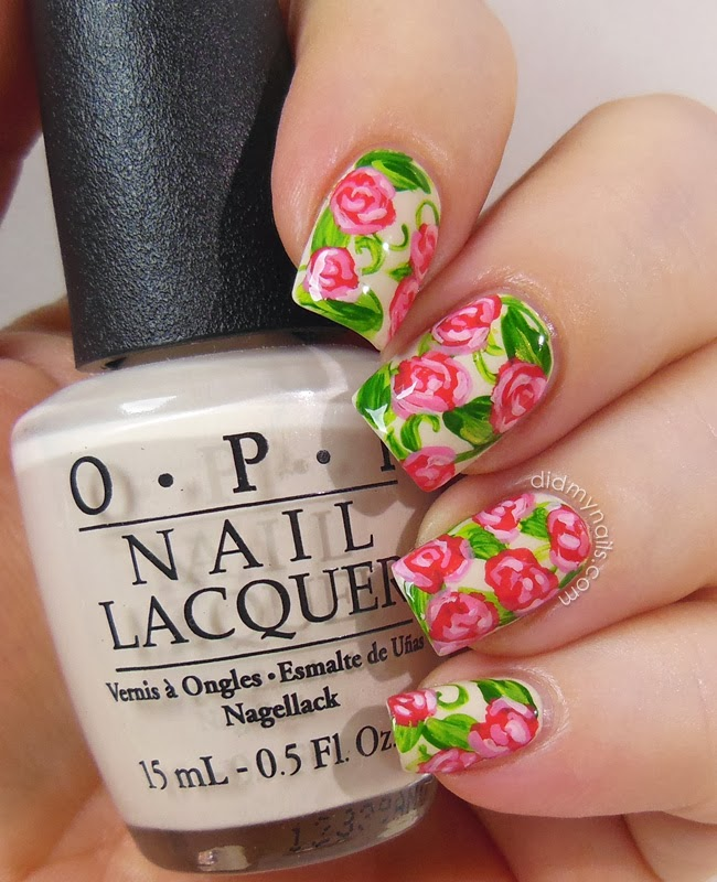 Did My Nails Rose Nail Art In Raspberry Pink