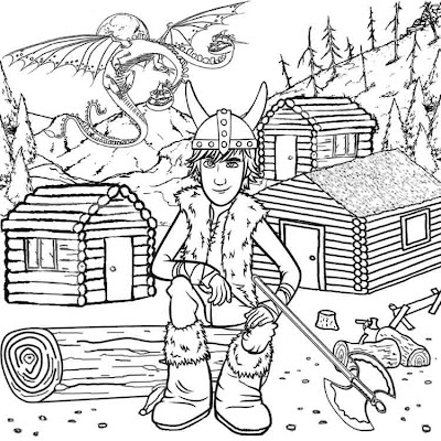 Two headed dragon wooden log Viking cabins Hiccup how to train your dragon coloring pages for kids
