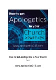 How to Get Apologetics in Your Church 2