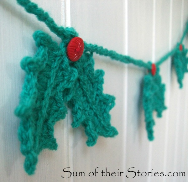 Crochet Holly leaf garland