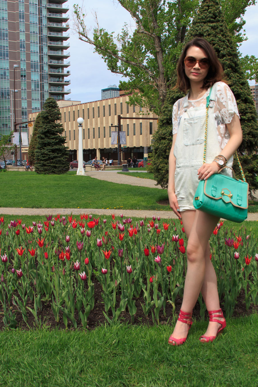 Lilac Festival, Calgary, outfit, summer fashion, spring fashion, Barbie for Townshoes, For Love and Lemons, American Eagle, Overalls, Coach, round sunglasses