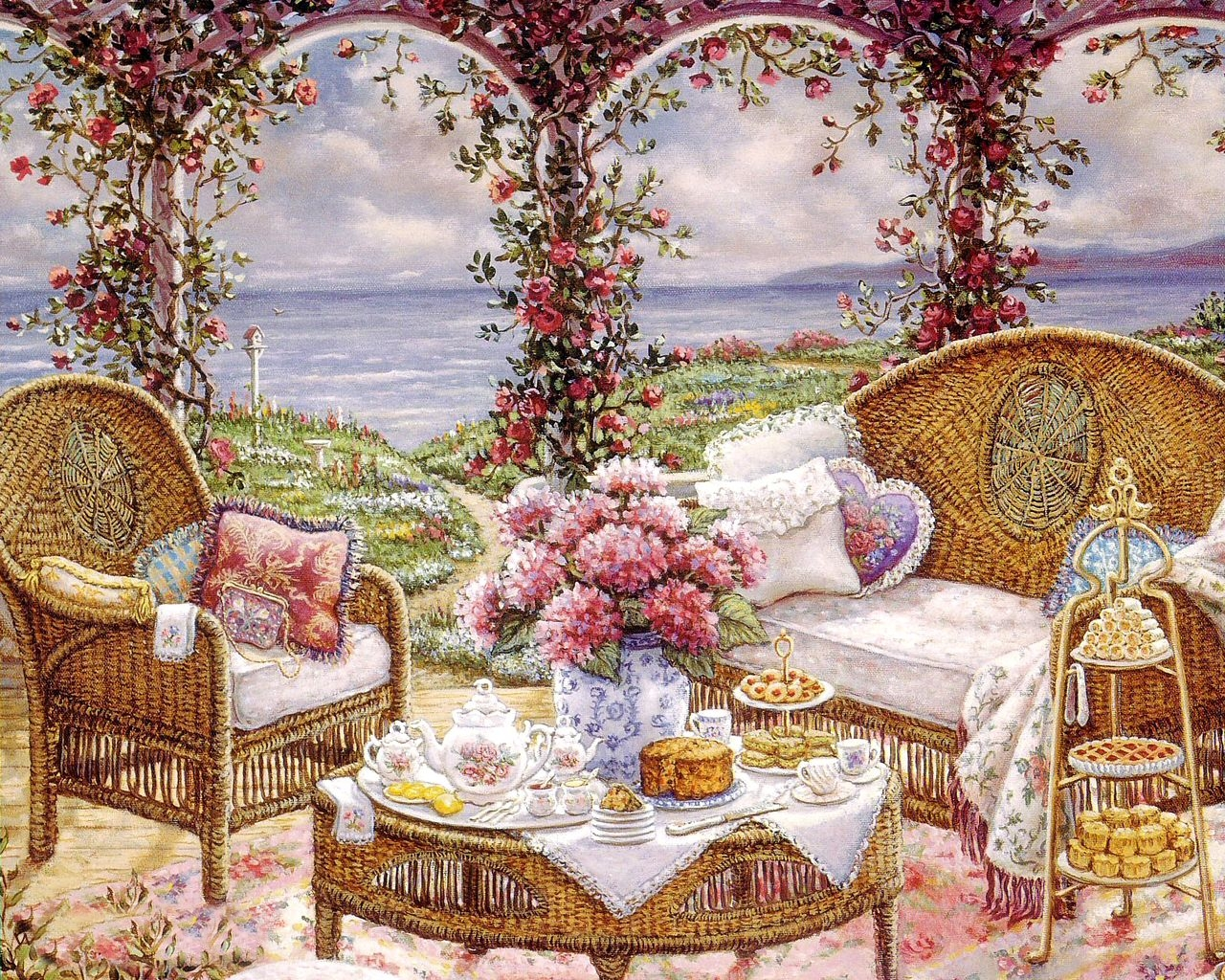 Janet kruskamp romantic realist painter tutt 39 art for Garden painting images
