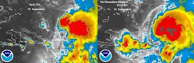 Tropischer Sturm MARIA: Fast-Stillstand bringt Regen und Wind nach Punta Cana auf der Dominikansichen Republik, Maria, Satellitenbild Satellitenbilder, Karibik, Puerto Rico, Dominikanische Republik, aktuell, Punta Cana, Atlantik, September, 2011, Hurrikansaison 2011,