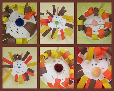 photo of: Lion art project on paper plate, jungle animal art project for children