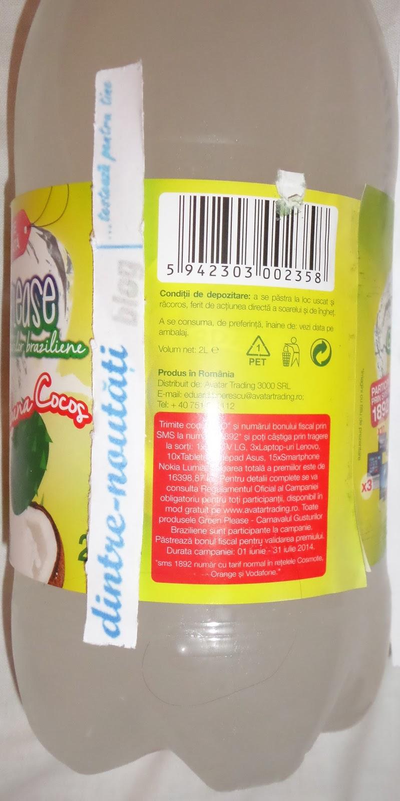 Băutură răcoritoare carbonatată cu îndulcitori și arome guanabana-cocos
