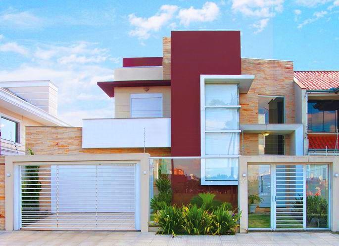 24 fachadas de casas modernas tipos de revestimentos for Cores modernas para fachadas de casas 2016