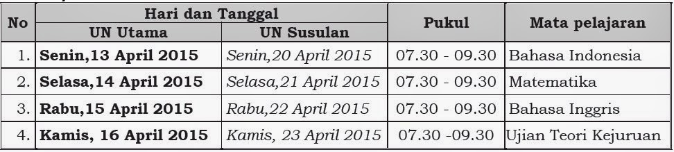 Jadwal UN SMK 2015