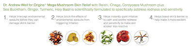 Dr. Andrew Weil for Origins Mega-Mushroom Collection, Dr. Andrew Weil for Origins Mega-Mushroom Skin Relief Face Cream, Dr. Andrew Weil for Origins Mega-Mushroom Skin Relief Advanced Face Serum, Dr. Andrew Weil for Origins Mega-Mushroom Skin Relief Eye Serum, Dr. Andrew Weil for Origins Mega-Mushroom Skin Relief Face Mask, skin, skincare, skin care, beauty giveaway, A Month of Beautiful Giveaways, infographic, beauty product ingredients