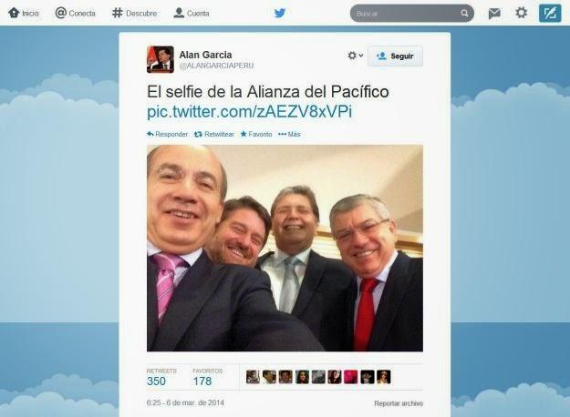 El ex presidente Alan García publicó en Twitter una foto junto a los ex presidentes Felipe Calderón (México) y César Gaviria (Colombia).