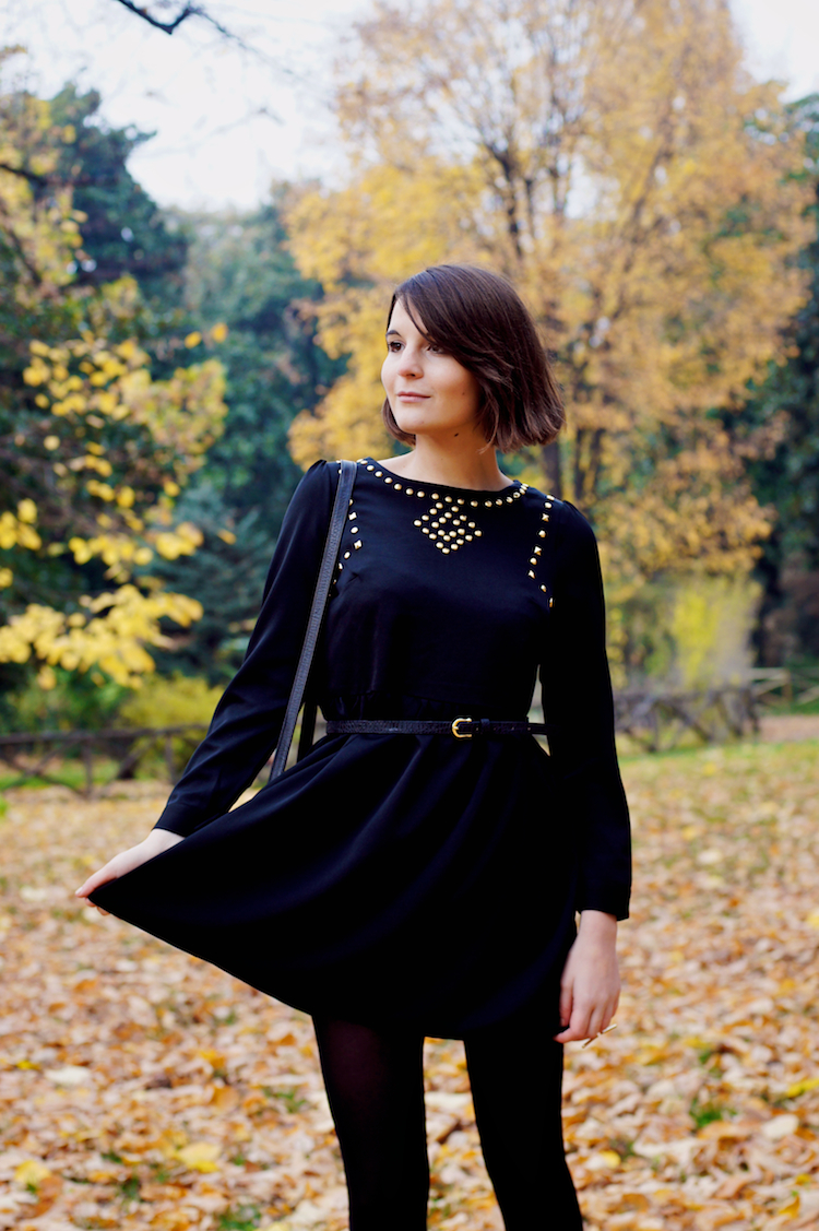 Irene Buffa black dress and gold studs