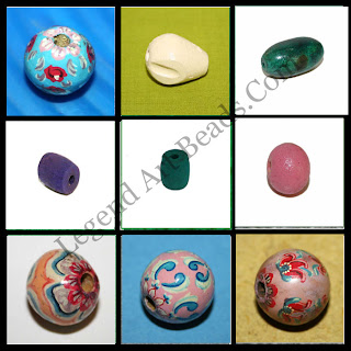 925 Rounded handmade wooden painted beads