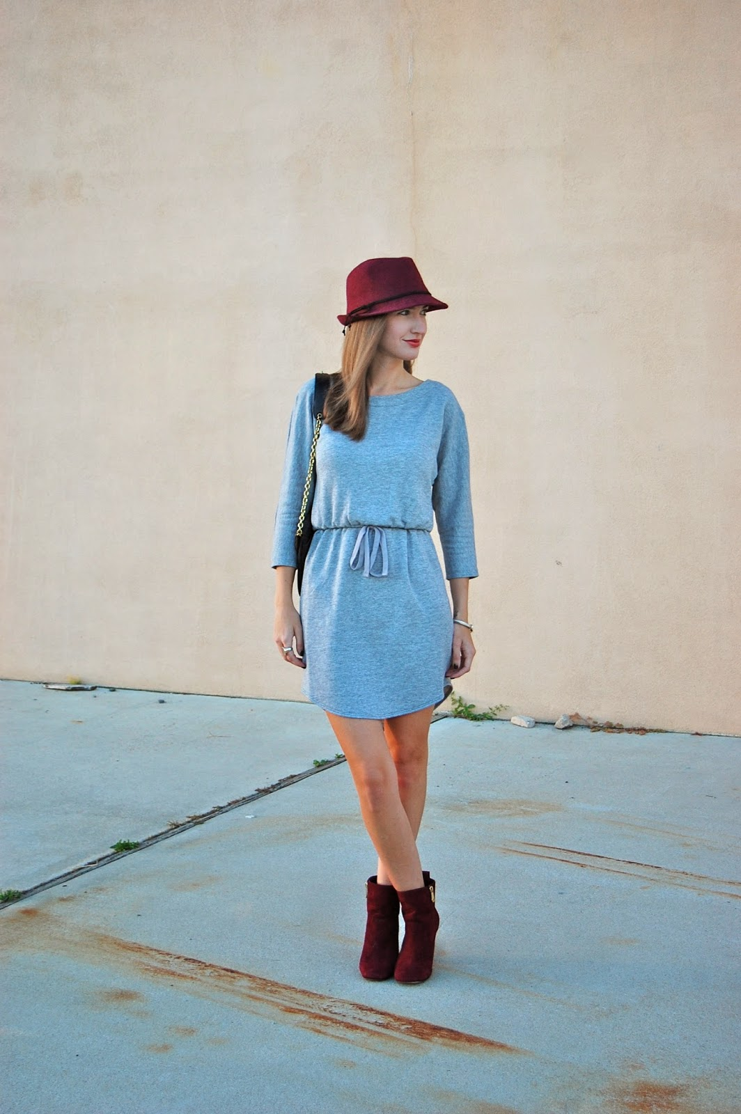 Wearing Old Navy Sweatshirt Dress, Wine colored Fedora, Wine colored booties