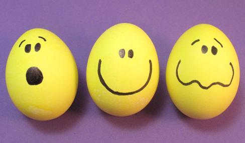 Huevos de Pascua emoticon o smilie, muy faciles