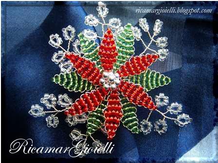 fiore a forma di stella realizzato con perline