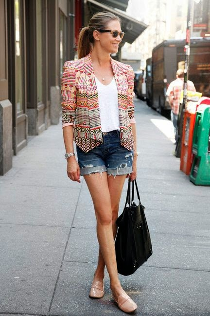 Street Style - cute blazer and denim shorts