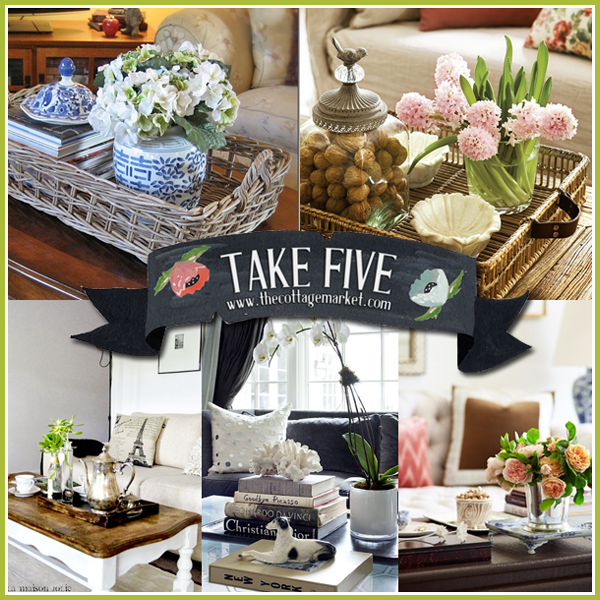 Take five coffee table vignettes the cottage market for Decor vignette