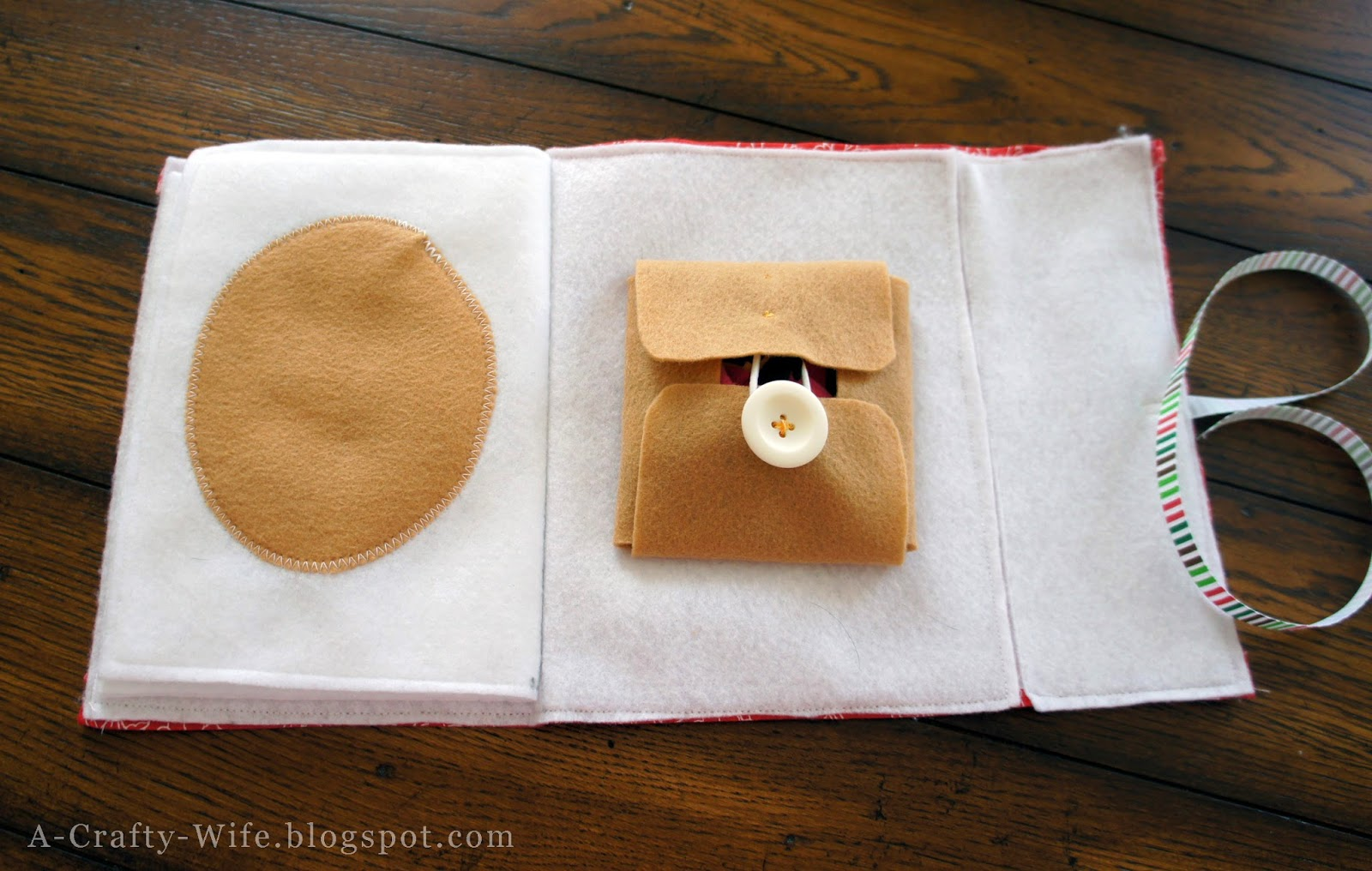 Use hairband and spare button to close pocket for felt faces book | A Crafty Wife