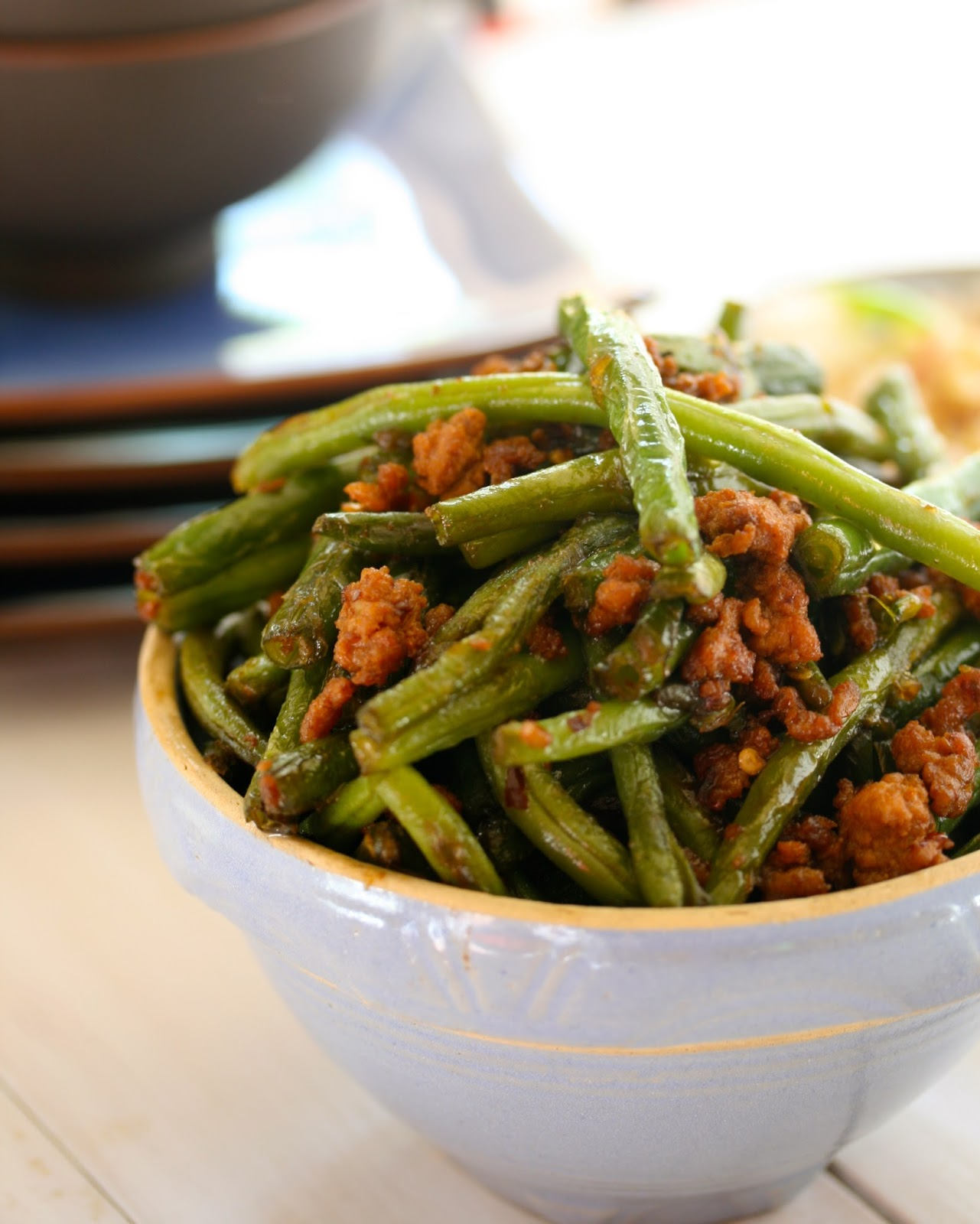 Angie Cooks In Portland: Spicy Chinese Green Beans with Ground Pork