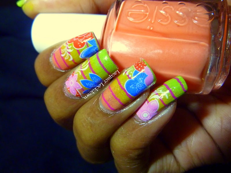 Lacquer Lockdown - Born Pretty Store, water decals, nail art stamping, nail art stamping blog, Marianne Nails, MN25, stamping, essie, NYC, Sally Hansen, floral nail art, mundo de unas stamping polish, cute nail art ideas, diy nail art, gradient nail art,