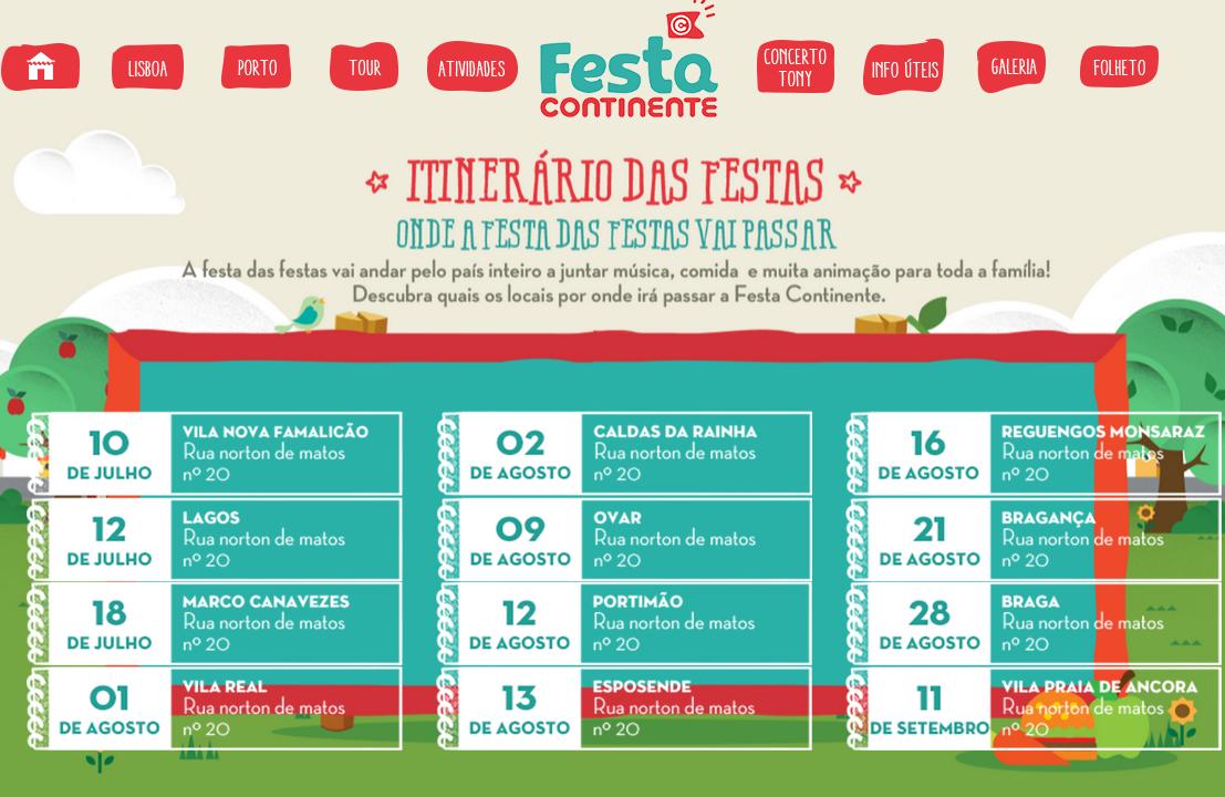 Itinerário das festas nem Portugal