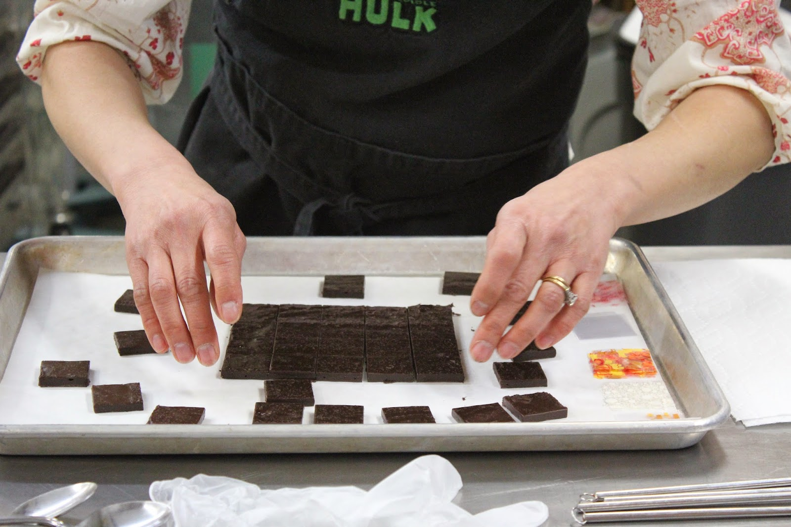 Making chocolates at EHChocolatier Beyond the Bar class