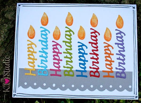 k (heart) studio, birthday, card, candles, cardstock, die cuts