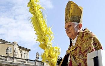 revestido de rojo como todos los celebranes del Domingo de Ramos llevó una palma