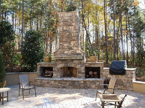 Brick Stone Outdoor Fireplace