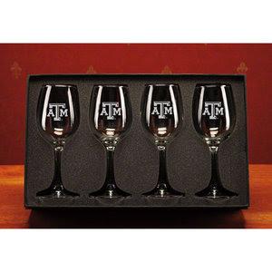 Texas A&M Aggies NCAA 12 oz Deep  Etched White Wine Glasses Set of 4